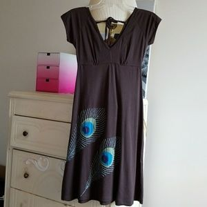 Modcloth Brown Peacock Feather Embroidery Dress